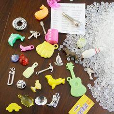 DIY I Spy bag supplies (trinkets and pellets)