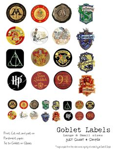 Harry Potter Food &Drink Labels. I can print them and cut on Cricut. Perfect to affix to paper cups.