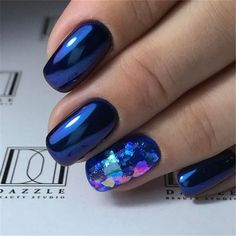 40 Trendy 2019 Dark Blue Nail Art Designs - My best nail list Fun Nails, Pretty Nails, Nail Manicure, Nail Polish, Dark Blue Nails, Blue Nails Art, Dark Nail Art, Blue Gel Nails, Fingernails Painted