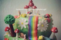 Rainbow garden cake