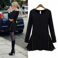 S1464 zipper sides A dress-black