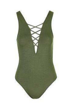 V Neck Strap Bodysuit from Topshop R380,00