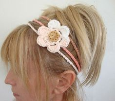 crochet head band with removable flower by daiseychain on Etsy, $12.00