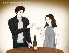 Teacup Toast 50 shades of grey, fan art. Fifty Shades Darker, Fifty Shades Of Grey, Christian Grey, Dakota Johnson Movies, Fifty Shades Series, Dark Drawings, Grey Art, Movie Couples, Romantic Movies