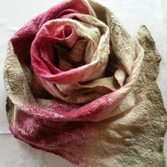 Cobweb felted scarf  'Rose'