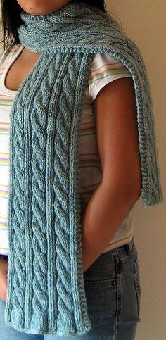 Irish Hiking Scarf By Adrian Bizilia - Free Knitted Pattern - (ravelry) - I did this in red.