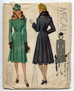 1930s McCall 3426 Peacoat Coat Fitted Fur Collar Art Deco 1939 Sz14 B32 Cut/Complete/Printed (some creasing/minor wear to pieces-discoloration/minor wear to instructions)Env Poor edge wear, tearing (flap coming off/splitting down the side creasing/discoloration 42+2.25 10bds 8/24/14