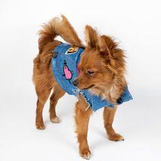 Veste en Jean chien avec les patchs par chucksdenim sur Etsy