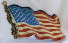 Vintage American Flag Wall Hanging 1971 #0173 Molded Hard Plastic Americana GUC