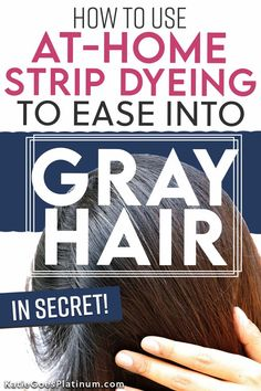 Are you ready to go gray but don't want the world to know? Learn how to go gray in secret with the Dye Strip Technique. It's the best way for dark brunettes to go gray gracefully, but it works for redheads and blondes as well. With the Dye Strip technique, you can secretly grow out gray hair and only reveal it to the world when you are ready to show off your fabulous silvers! If you're wondering how to go gray with dark hair, with no demarcation line, this method is for you! Dark Brunette Hair, Platinum Blonde Hair, Dark Hair, Gray Hair Growing Out, Grow Hair, Grey Hair Transformation, How To Dye Hair At Home, Going Gray Gracefully, Tapered Natural Hair