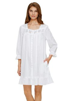 6386151463 NWT-Eileen-West-SUMMER-White-Lawn-Cotton-Lng-