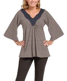 Love this Charcoal & Sand Stripe Freesia Top - Women on #zulily! #zulilyfinds