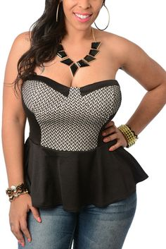 Black Cream Plus Size Sexy Lace Peplum Top.  This lovely lace top can be played up or played down. Its the perfect look for day or night, the office or for date night.  Have to love curves guys!!  Grab yours now at http://shrsl.com/?~4yh5  Only $20.99