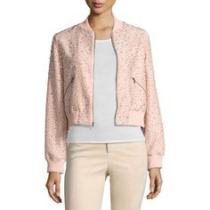 Alice + Olivia Demia Embellished Silk Cropped Bomber Jacket ($695) ❤ liked on Polyvore featuring outerwear, jackets, light pink, bomber style jacket, silk jacket, light pink jacket, pink silk jacket and silk bomber jacket
