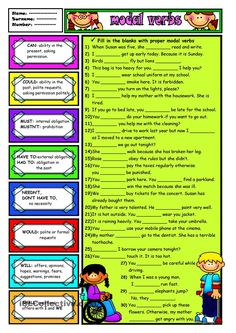 A helpful handout when teaching modal verbs - ESL worksheets Teaching English Grammar, English Grammar Worksheets, Verb Worksheets, English Language Learning, Printable Worksheets, English Class, English Lessons, Learn English, Grammar Quiz