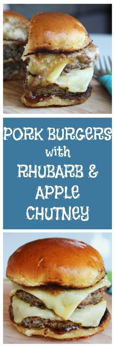 This homemade ground pork burger is perfectly juicy and succulent. Topped with cheddar cheese and apple and rhubarb chutney, a burger that's full of flavor. Burger Recipes, Pork Recipes, Pork Meals, Pork Burgers, Hamburgers, Apple Chutney, Food Porn, Bbq, Good Burger