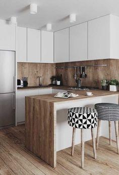Kitchen Room Design, Kitchen Cabinet Design, Modern Kitchen Design, Living Room Kitchen, Kitchen Layout, Home Decor Kitchen, Interior Design Kitchen, Kitchen Furniture, Home Kitchens