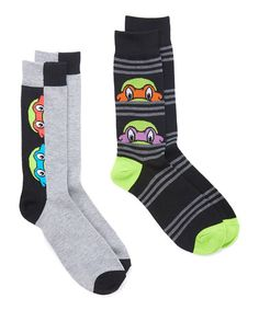 Another great find on #zulily! Black & Gray Hidden Face TMNT Crew Sock Set - Adult #zulilyfinds
