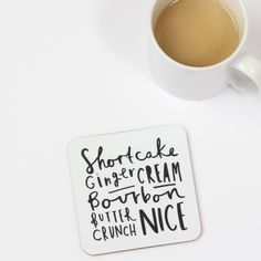 monochrome typography hand lettered biscuit coasters