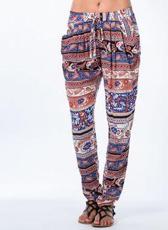 Ornate Paisley Print Harem Pants