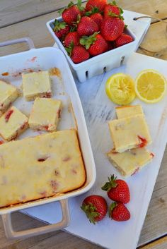 Lemon Strawberry Bars with Lemon Glaze