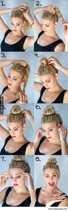 Bun Hairstyles with 1 Minute - A bun was basically made for dirty hair. A bun is the best and easiest way to get your hair out of your face and to make it look polished even when it's greasy. Hair Salons www. Medium Hair Styles, Long Hair Styles, Bun Styles, Hair Medium, Cute Summer Hair Styles, Pretty Hairstyles, Short Hairstyle, Knot Hairstyles, Hairstyles 2018