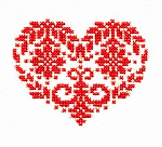 Print the cross stitch heart graphic on iron-on transfer paper and, following the directions on the package, apply it to the tea towel and you are done! (No-Sew Faux Cross Stitch Valentine Tea Towel)