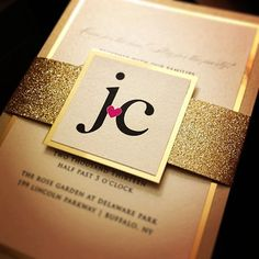 Fancy Glitter Wedding Invitations  SAMPLE by JustInviteMe on Etsy, $9.25-super cute and simple