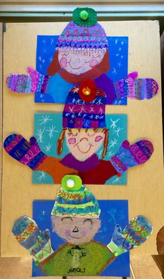 Winter collage self portrait january crafts, january art, winter art projects, classroom crafts
