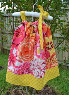 Spring Pillowcase Dress pink orange Floral by LilBambinaBoutique, $19.99