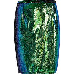 RI Plus emerald green sequin pencil skirt - midi skirts - skirts - women