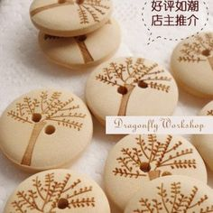 40 wooden buttons  tree buttons 2cm/0.7inch by DragonflyWorkshopYi, $4.50 *~ETSY SHOP FOR FABRICS & BUTTONS~*