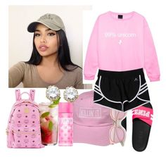"""""""Fried chicken pleasee"""" by trill-anons-youwant ❤ liked on Polyvore featuring Victoria's Secret, adidas, MCM, Victoria's Secret PINK and Kenneth Jay Lane"""