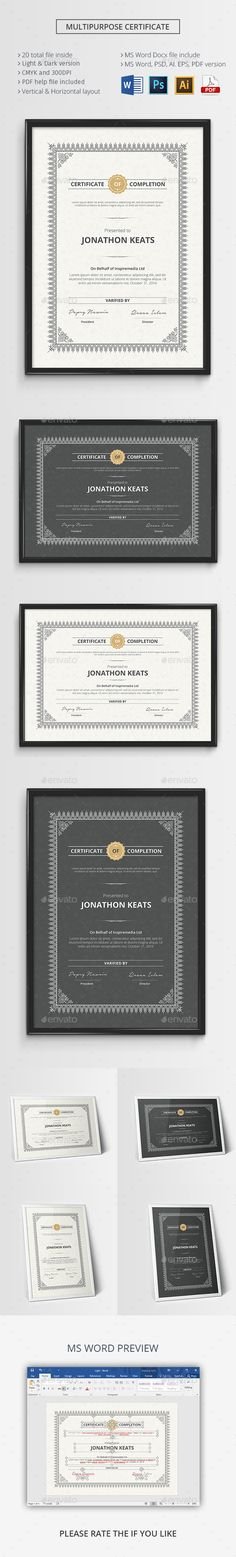 Multipurpose Certificate Template PSD, Vector EPS, AI Illustrator, MS Word. Download here: https://graphicriver.net/item/multipurpose-certificate/17521264?ref=ksioks