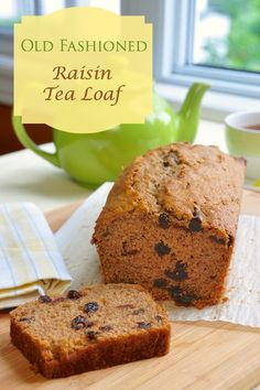 A real old fashioned recipe for raisin tea loaf, where tea is used both in the batter and to soak the raisins. Try it with other dried fruit like dates too.