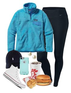 """""""wierd setup but gettin me some chic fil a yo"""" by elizabethannee ❤ liked on Polyvore featuring NIKE, Patagonia, OtterBox, Carolee and Converse"""