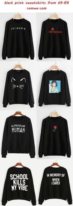black print sweatshirts 2017 - romwe.com