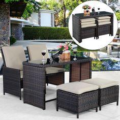 New 5PCS Brown Cushioned Ottoman Rattan Patio Set Outdoor Furniture Garden  #Goplus