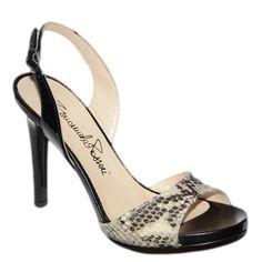 #Sandalo a chanel in vernice nera e pitone di  #EmanuelaPasseri  http://www.tentazioneshop.it/scarpe-emanuela-passeri/sandalo-4026-pitone-beige-emanuela-passeri.html