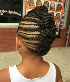 Black Girls Braided Mohawk From Buns