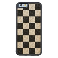 Black & Blond Wavy Checkered  iPhone Wood Case