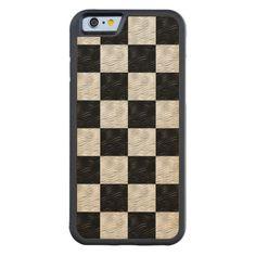 Black & Blond Wavy Checkered  iPhone Wood Case