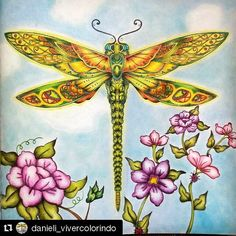 Adult Coloring Book Pages, Coloring Book Art, Colouring Pages, Dragonfly Images, Dragonfly Art, Dragonfly Wallpaper, Dragonfly Jewelry, Enchanted Forest Book, Enchanted Forest Coloring Book