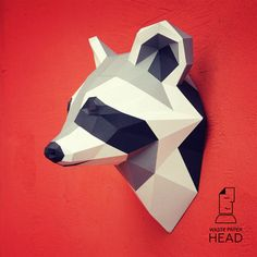 Papercraft raccoon head printable DIY template by WastePaperHead