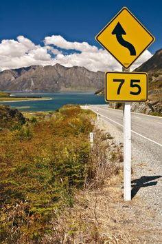 Lake Haweain Central Otago, New Zealand.   keep straight on??