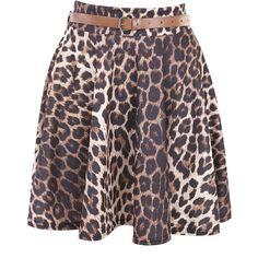 Leopard Mini Skate Skirt With Belt