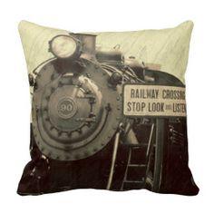 Rustic Train Pillow
