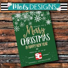 Any Color BUSINESS MERRY CHRISTMAS Card Snowflake Snow Red Green Logo Gold Glitter Chalkboard Photo Holiday Baby Bridal Shower Invitation