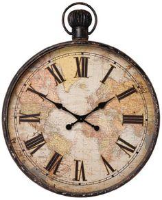 Vinatge Clock Vintage Antique World Map Clock