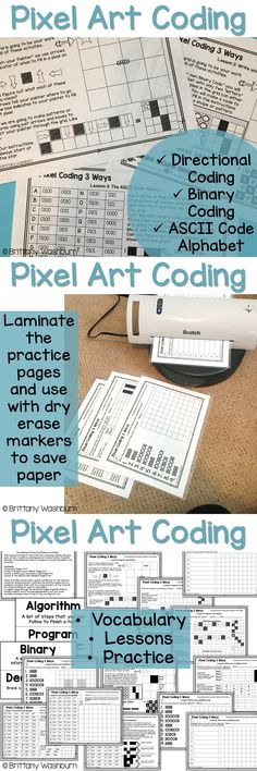 Coding Pixel art lessons and activities. This resource brings art and math into computer science because each activity results in creating pixel art and patterns. Students will learn three different ways to program or code throughout the activities. Perfect for problem solving or STEM time in the classroom.